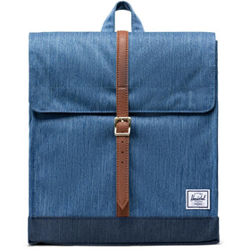 Herschel City Mid-Volume Sac à dos 14L, faded denim/indigo denim/tan synthetic leather